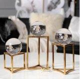 家居饰品摆件样品房装饰不锈钢金色水晶球摆件书房客厅摆件