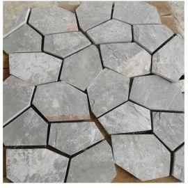 天然绿色青石板岩文化石 阳台庭院室内地砖仿古防滑 石材石头批发