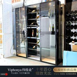 不锈钢酒柜定制厂家嵌入式客厅酒柜   柜客厅