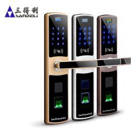 三得利指纹锁 家用防盗门密码锁 磁卡刷卡智能电子感应锁大门门锁