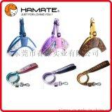 哈美特专业厂家现货供应高档超柔布小中大型犬宠物三角胸背+牵引绳套装