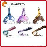 哈美特專業廠家現貨供應高檔超柔布小中大型犬寵物三角胸背+牽引繩套裝
