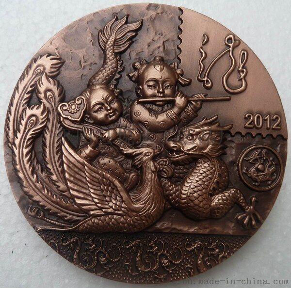 悦达定制纯铜浮雕大铜章纪念币人物肖像浮雕纪念章定制