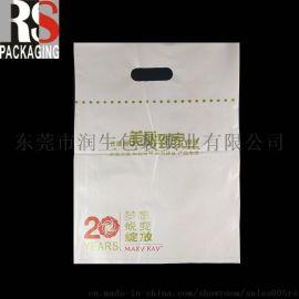 东莞厂家定制logo印刷挖孔手挽袋 化妆品 奶白色手提购物袋
