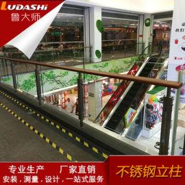 厂家生产写字楼商场不锈夹胶钢玻璃护栏简约不锈钢栏杆
