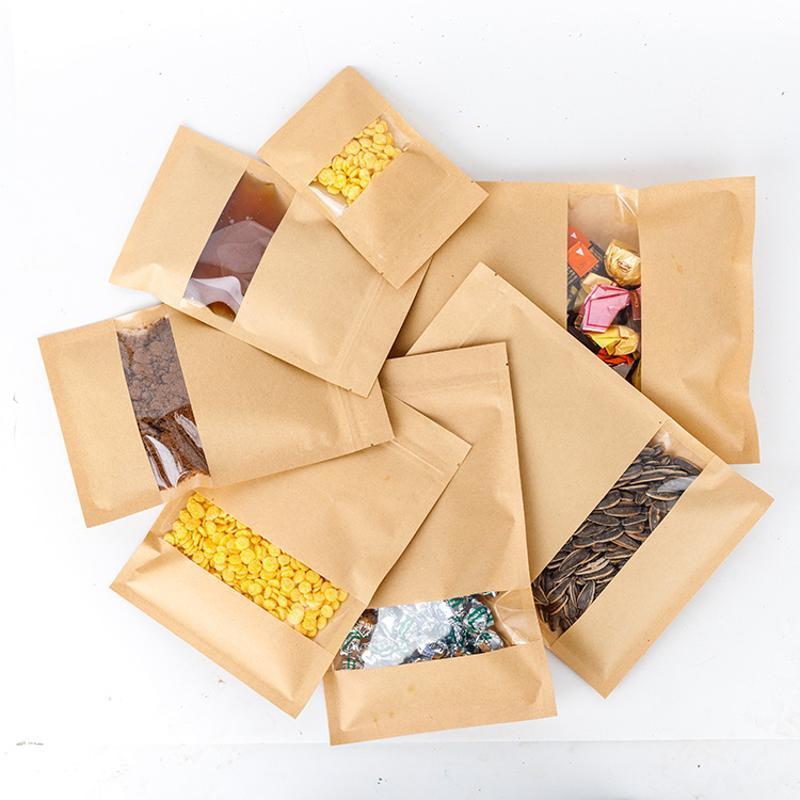 茶叶袋牛皮纸自立自封袋开窗牛皮纸袋坚果食品包装袋干果类密封袋