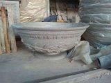 砂岩仿黄锈石花盆摆设雕塑定做生产厂家