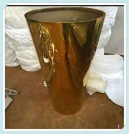 不锈钢中式花盆定制供应园艺组合花盆花箱不锈钢玫瑰金镜面花盆