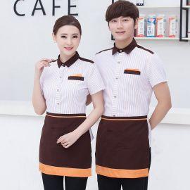 供应夏季韩式酒店服务员工作服短袖衬衣网咖啡厅饭店西餐厅火锅店