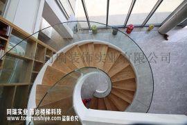 旋转钢木楼梯 弧形玻璃扶手 厂家定制