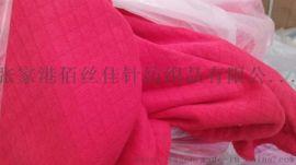 现货供应方格小菱形纯棉空气层提花空气层面料