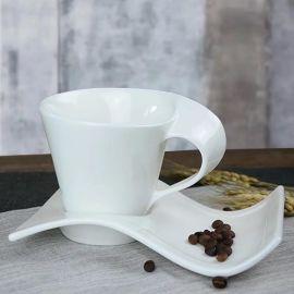 简约白色意大利浓缩咖啡杯碟 陶瓷杯碟欧式下午茶具咖啡具