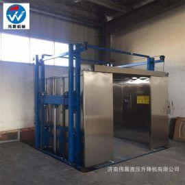 厂房 导轨升降平台 液压升降机 小型货梯轨双缸货