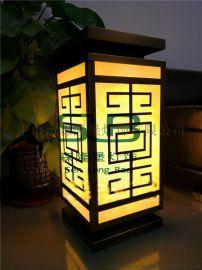 中式柱头灯电镀红古铜仿云石景观灯小区全铜灯定制