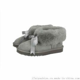 伊丰鞋业经典款羊皮毛一体雪地靴低筒女靴