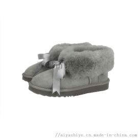 伊豐鞋業經典款羊皮毛一體雪地靴低筒女靴
