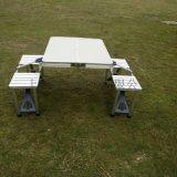 便捷式户外折叠桌椅、铝合金连体桌椅套装、联体折叠桌