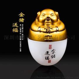 琉璃玉工艺礼品主人杯定制 2019猪年礼品摆件