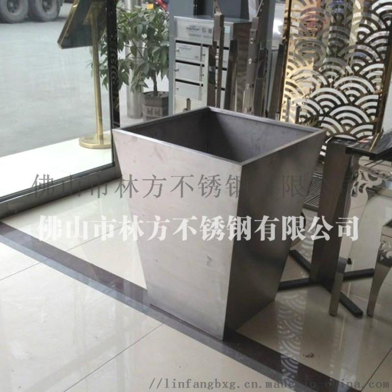 佛山 定做展厅大堂不锈钢花瓶 拉丝不锈钢花箱