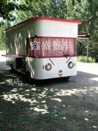 全封闭四轮电动餐车流动餐车巴士街景小吃车
