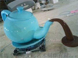 景区悬空视觉天壶雕塑 生产玻璃钢仿铜喷泉茶壶