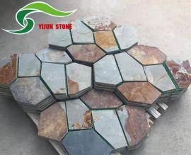 厂家低价售高质量天然黄木纹板岩网贴石 抗压铺路石 青灰色 锈板