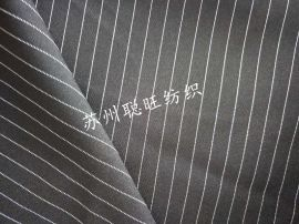 300D平纹呢97%涤纶3%人棉竖条西服工装面料