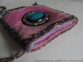 丝绒钉珠包 金丝绒珠绣包 丝绒串珠手机包