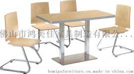 不鏽鋼腳餐桌椅,四人位不鏽鋼餐桌椅廣東鴻美佳廠家定制