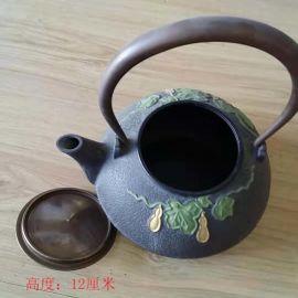 铸铜提梁铜茶壶 紫铜泡茶观赏茶壶 办公家居桌面摆件