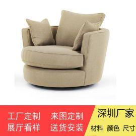 单人沙发单人位休闲沙发布艺椅子实拍图片家之福
