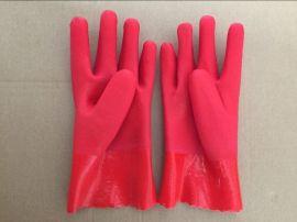 顺兴手套批发 pvc 防护手套 劳保安全 红色砂面 防水防滑耐用28cm