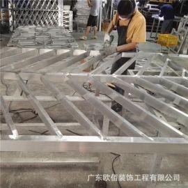 定制造型复古木纹铝窗花 焊接艺术铝合金铝窗花
