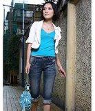 时尚手缝压褶中裤 (0112)