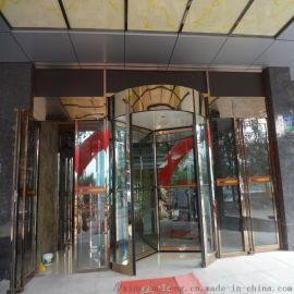 哈尔滨商务酒店旋转门,镜面香槟金三翼手动旋转门