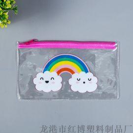 厂家定制韩版拉链笔袋学习文具收纳袋PVC票据文件袋