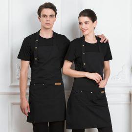 帆布围裙快餐店咖啡厅奶茶店面点蛋糕烘焙师调节挂脖围裙定制logo