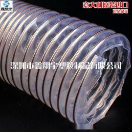 耐磨pu钢丝伸缩管,木工雕刻机吸尘软管,进口工业软管6寸150