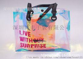 新款pvc化妆袋 幻彩透明电压零钱包可做化妆包多工能 加印LOGO旅行字母洗漱袋促销