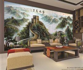 佛山陶瓷艺术壁画厂家个性定制彩虹石品牌中式客厅沙发背景墙壁画雄风万里 瓷砖背景墙长城
