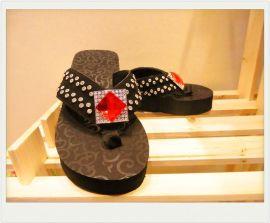 玻璃饰扣国A钻欧美**EVA拖鞋牛皮材质美国西部牛仔风格 女鞋