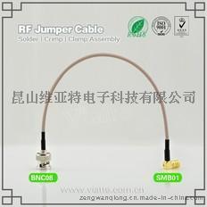 BNC08-SMB01BNC(Plug)  公针 to SMB(Jack)母头母针弯式铆压接RG316_RG174同轴电缆/50Ω