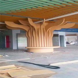 餐厅仿木纹造型包柱铝单板 室内中庭弧形包柱铝单板