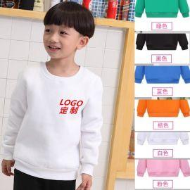 男女童款冬季加绒运动装圆领卫衣外套纯色定制幼儿园服logo标志