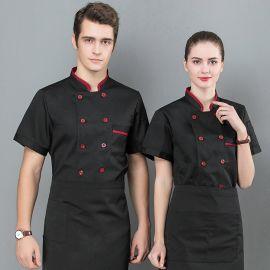 夏季厨师工作服男定制厨师服短袖西餐厅餐饮厨房厨师长烘焙师工装