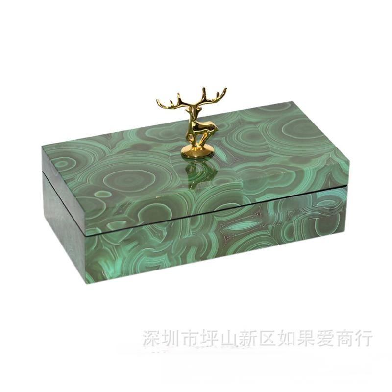 长方形绿色孔雀石金色鹿仔首饰盒木质天然结晶石饰品收纳盒摆件