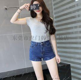 流行新款韩版牛仔短裤夏季女装时尚翻边破洞做旧短裤