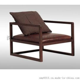 北欧单人沙发布艺实木卧室阳台客厅休闲沙发