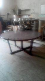 欧式实木餐桌简约办公书桌铁艺家具定制酒吧餐厅咖啡厅餐桌椅组合