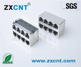 ZXCNT双层RJ45无灯2X4网络连接器接口